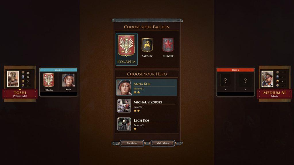 ironharvest リーダー選択画面